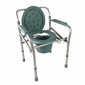Faltbarer Toilettenstuhl. Klein zusammenlegbar und leicht zu transportieren. Bis 75kg.