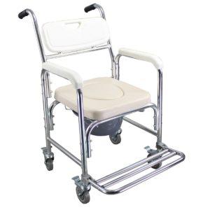 Fahrbarer Toilettenstuhl, auch als Duschstuhl und einfacher Rollstuhl verwendbar.