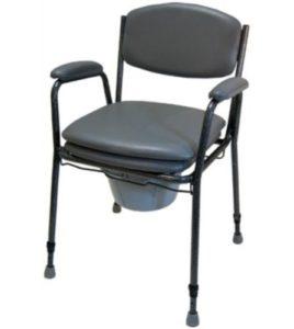 Toilettenstuhl mit bequemer Sitzfläche und Armlehnen. Ohne Rollen.